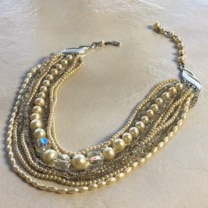 Vintage 10 Strand Chocker Necklace Signed JAPAN